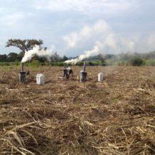 výroba biouhlu na poli